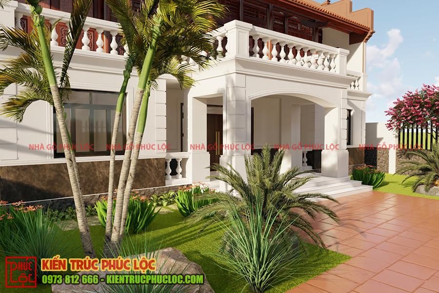 Căn nhà được bố trí nhiều cây cảnh, hoa