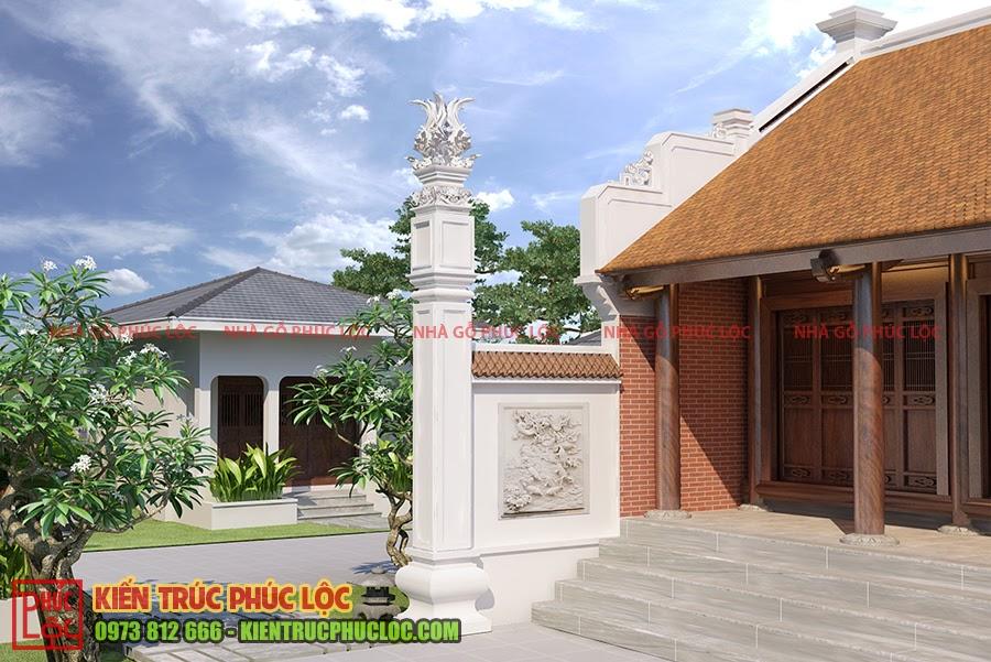 Cột đồng trụ nhà gỗ 3 gian
