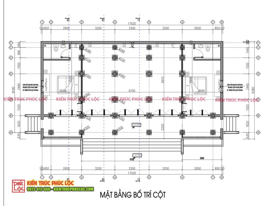 Mặt bằng bố trí cột căn nhà gỗ 5 gian