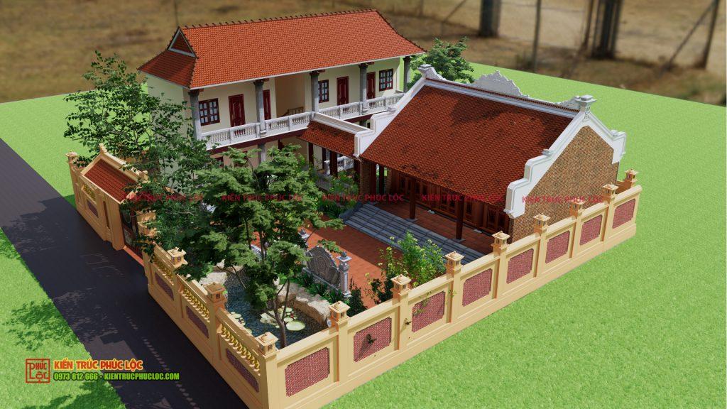 Tổng thể bản vẽ 3D công trình nhà gỗ