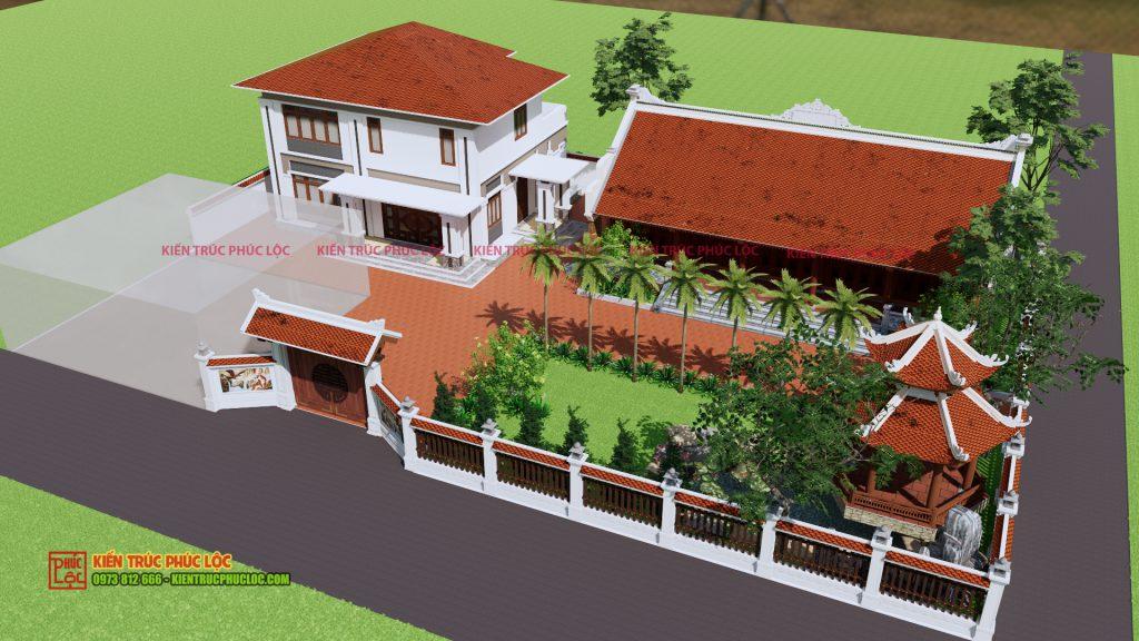 Tổng quan nhà gỗ 5 gian thông hiên từ bản vẽ 3D