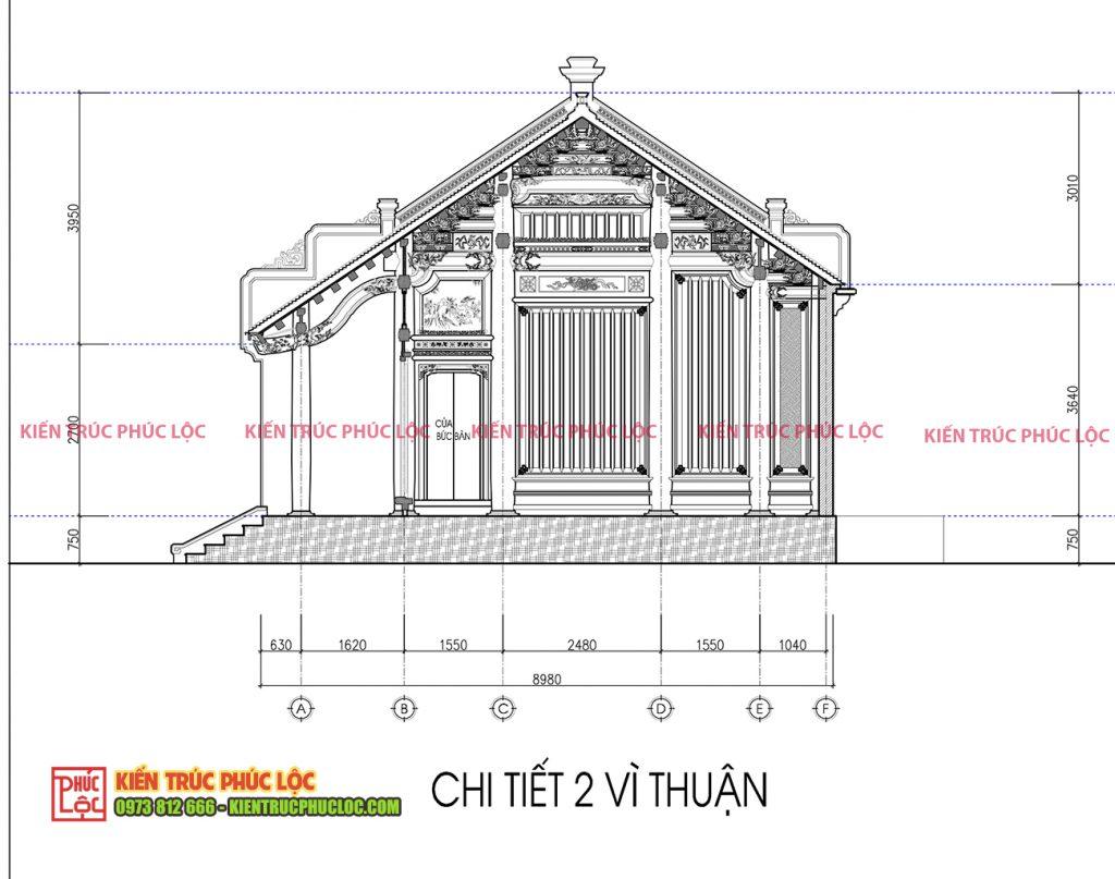Chi tiết 2 vì thuận nhà gỗ 5 gian