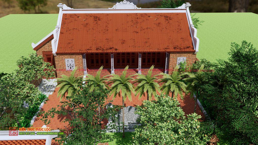 Phía trước căn nhà gỗ bản vẽ 3D