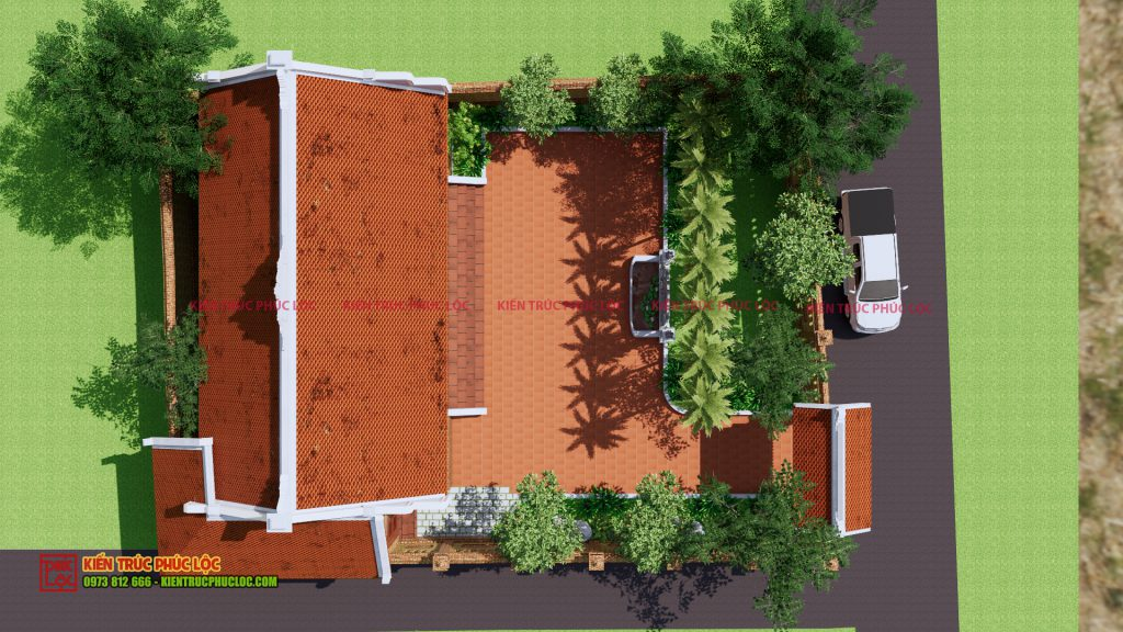 Góc nhìn từ trên cao của nhà gỗ 5 gian
