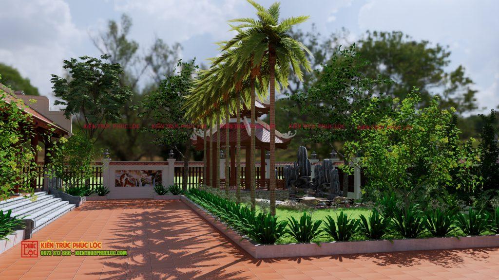 Phần sân vườn của nhà gỗ 5 gian
