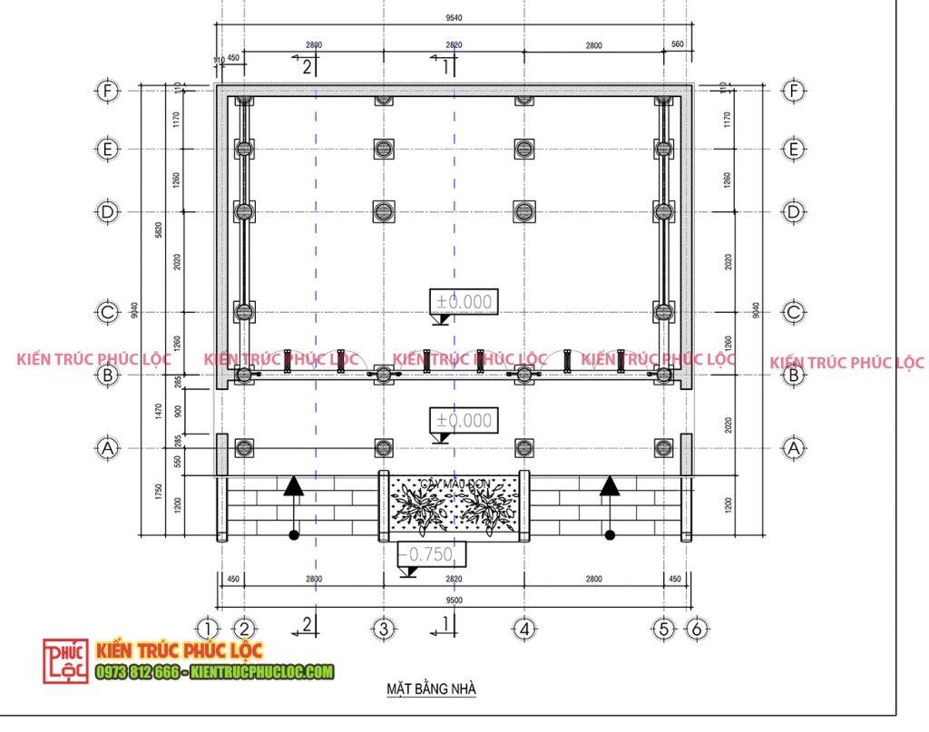 Bản vẽ 2D nhà gỗ 3 gian 22 cột