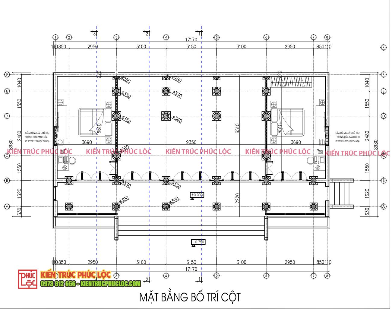 Bản vẽ 2D mặt bằng nhà gỗ 5 gian 26 cột