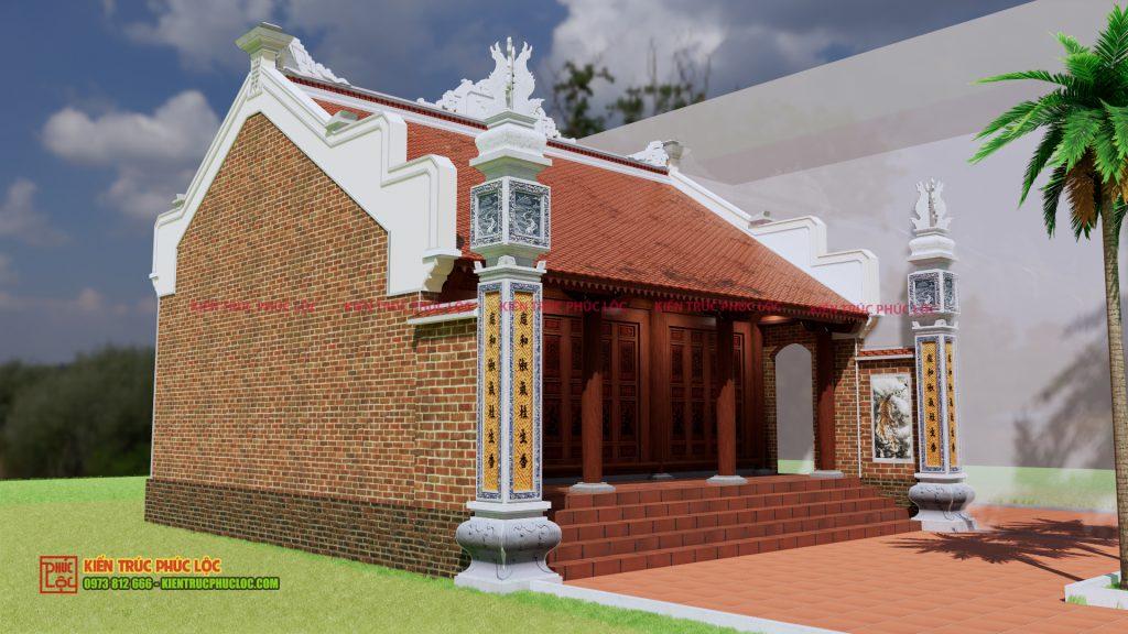 Bản vẽ 3D nhà gỗ 3 gian 22 cột