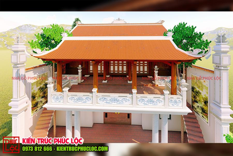Bản vẽ 3D nhà gỗ 5 gian 40 cột