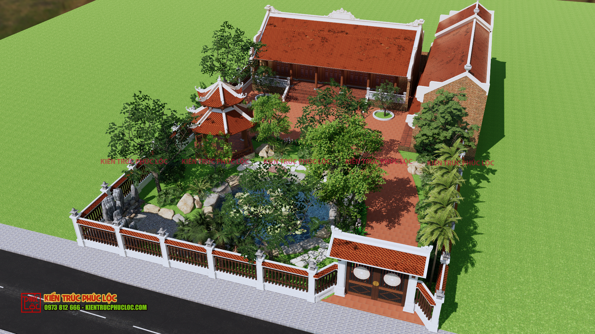 Bản vẽ 3D nhà gỗ sân vườn 5 gian