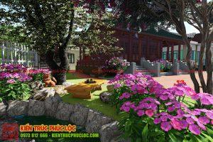 Thiết kế sân vườn với nhiều loại hoa
