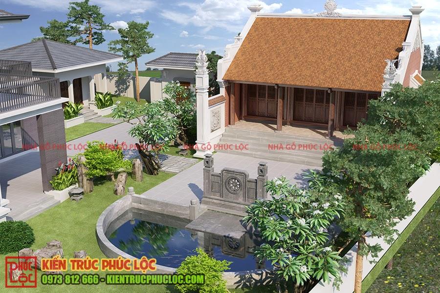 Bản vẽ 3D nhà gỗ sân vườn 3 gian